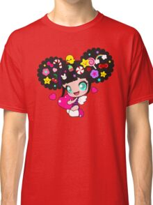 Cute little girl with candy in her hair, wings and hearts Classic T-Shirt