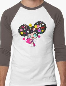 Cute little girl with candy in her hair, wings and hearts Men's Baseball ¾ T-Shirt