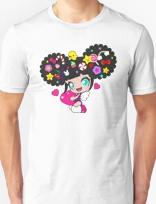 Cute little girl with candy in her hair, wings and hearts Unisex T-Shirt