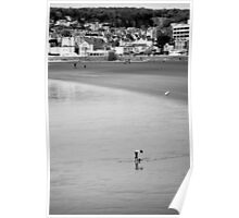 Empty Beach at weston -Lone Girl  Poster