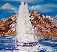 Nomadic in full sail oil painting by pallette-knife by coolart