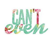 Like, I Can't Even Vintage Green Floral Print Design Photographic Print