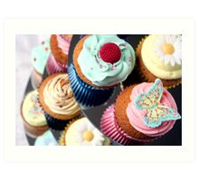 Cupcake Tier - lots of lovely cupcakes Art Print