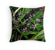 Grass with rain drops Throw Pillow