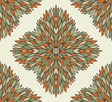 Orange and grey ornamental rectangles by Patternalized