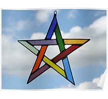 Multi-Coloured Pentagram Poster