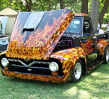 Flaming Hot 1956 Ford Truck by Glenna Walker