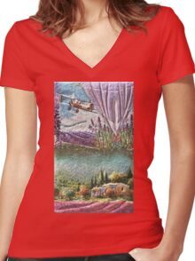 La Provence  My Creations Artistic Sculpture Relief fact Main 50  (c)(h) by Olao-Olavia / Women's Fitted V-Neck T-Shirt