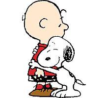 Charlie Brown Hugs Snoopy Photographic Print
