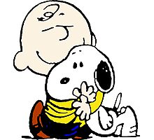 Snoopy hugs Charlie Brown Photographic Print