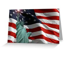 Lady Liberty and Old Glory Greeting Card