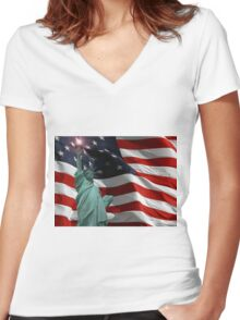 Lady Liberty and Old Glory Women's Fitted V-Neck T-Shirt
