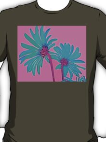 Pink and Teal Blue Flower Pop Art Abstract Color Design T-Shirt