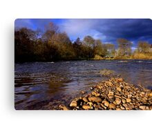 River Tees, Nr Low Coniscliffe, North of  England. March 2014 Canvas Print
