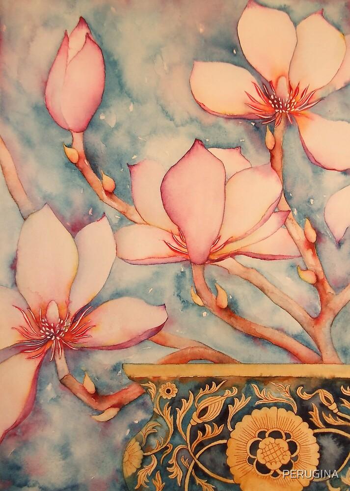 Magnolia In Vintage Vase II 'Still Life' © Patricia Vannucci 2008 by PERUGINA