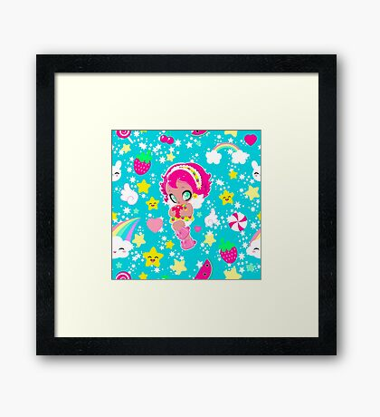 Cute funny girl with a heart pattern Framed Print