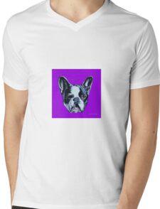 Francois the French Bulldog - Purple Mens V-Neck T-Shirt