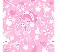 Cute funny girl with a heart pattern pink Photographic Print