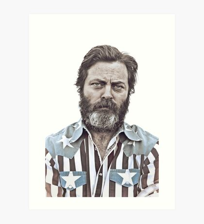 Ron Swanson (Nick Offerman) - An American Hero Art Print