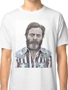 Ron Swanson (Nick Offerman) - An American Hero Classic T-Shirt