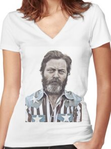 Ron Swanson (Nick Offerman) - An American Hero Women's Fitted V-Neck T-Shirt