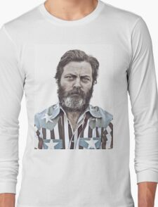 Ron Swanson (Nick Offerman) - An American Hero Long Sleeve T-Shirt
