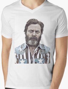 Ron Swanson (Nick Offerman) - An American Hero Mens V-Neck T-Shirt