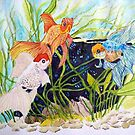 Gold fish meet,   watercolor painting Chinese detailed style by coolart