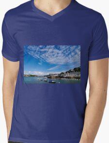 View from river Dart towards Dartmouth, Devon, England  Mens V-Neck T-Shirt