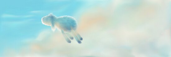 a Sheep is flying to the sky...  by Martina Stroebel