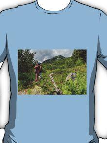 Tourists climbing the Pirin mountain in Bulgaria T-Shirt