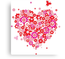 Valentines Heart Made of Flowers and Butterflys Canvas Print