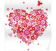 Valentines Heart Made of Flowers and Butterflys Poster