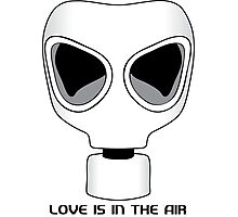 Love Is In The Air, Gas Mask, Anti Valentines Day Photographic Print