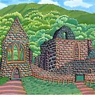 221 - VALLE CRUCIS ABBEY, WALES - DAVE EDWARDS - INK & GOUACHE - 2008 by BLYTHART