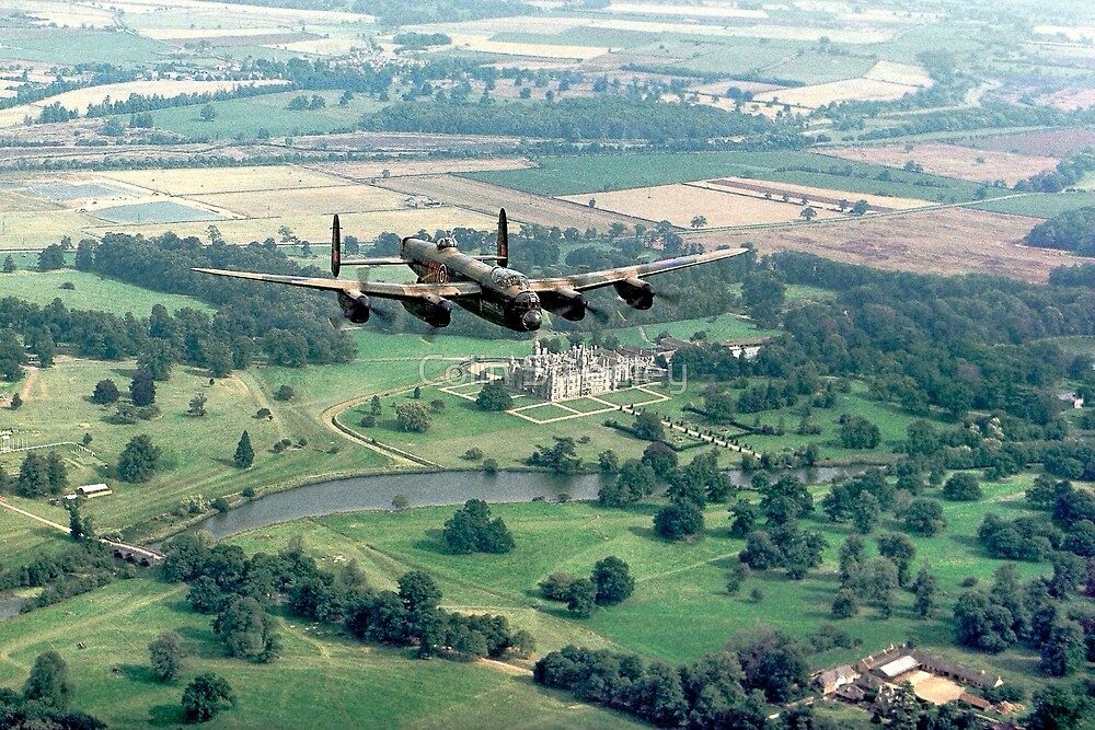 """Lancaster B.1 """"City of Lincoln"""" over Burghley House by Colin Smedley"""