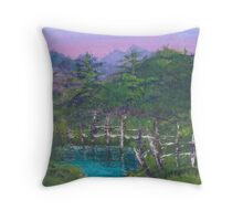 Blue Lagoon oil landscape painting Throw Pillow