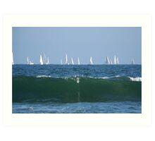 Boats & the waves Art Print