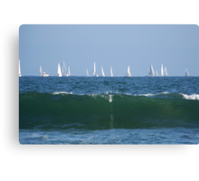Boats & the waves Canvas Print