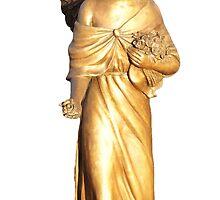 Golden gilt metal statuette of an angel by madigitalart