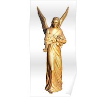 Golden gilt metal statuette of an angel Poster