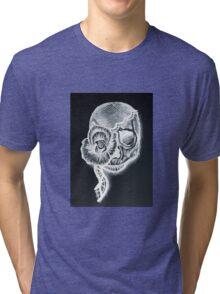 White Inverted Skull Tri-blend T-Shirt
