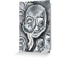White Skull Collage Greeting Card