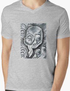 White Skull Collage Mens V-Neck T-Shirt