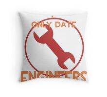I only date engineers- RED Throw Pillow