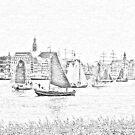 Antwerp - Sailboats -  sketch by Gilberte