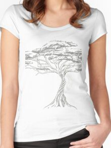 Acacia Shadow , black and white beautiful zen tree  Women's Fitted Scoop T-Shirt