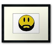 Emoticon with beard. Framed Print