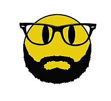 Hipster emoticon with beard and glasses. Photographic Print