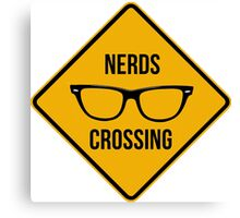 Nerds crossing. Caution sign. Canvas Print